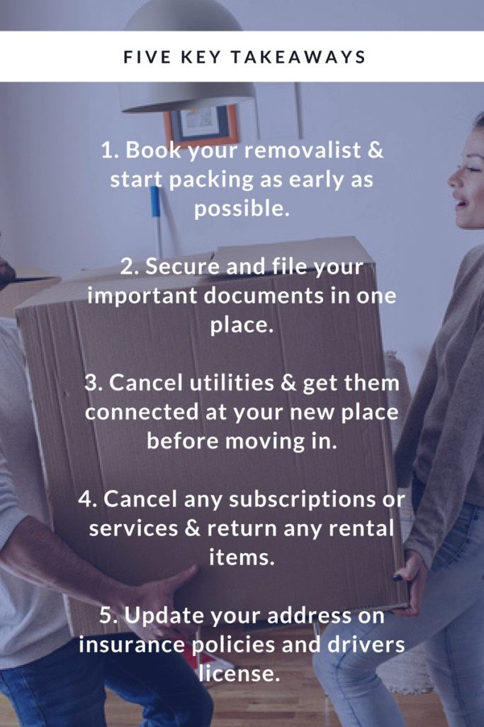 List of five key takeouts to moving house